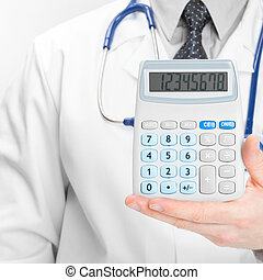 Doctor holdling calculator - heath care concept