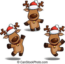 Christmas Elks - Set of cartoon illustrations of a Santas...