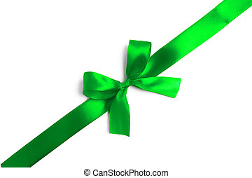 Green ribbon bow on white background. studio shot