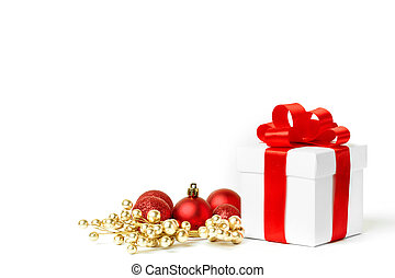 christmas gift with red balls bow isolated on white...