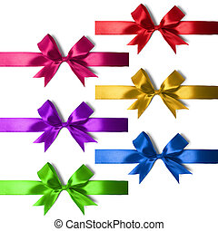 Big set of gift bows with ribbons Studio shot