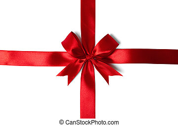 Red ribbon bow on white background studio shot