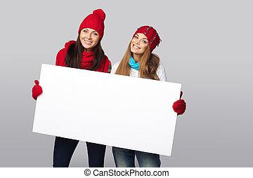 Inverno, mulheres, billboard, sinal.,