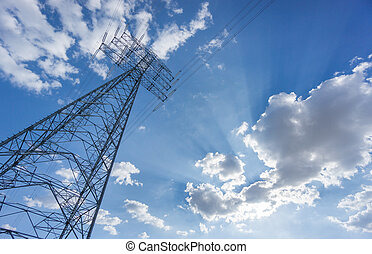 Wide view of electric tower over blue sky and clouds - Worms...