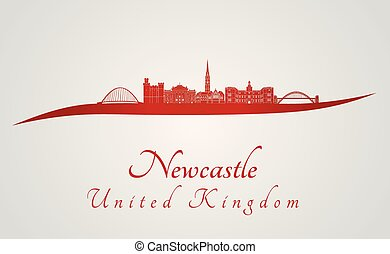 Newcastle skyline in red and gray background in editable...