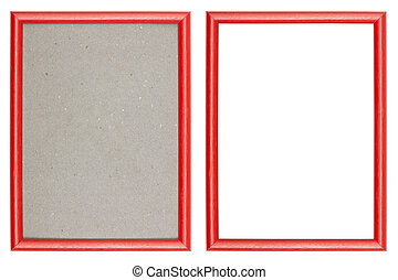 red plastic picture frame with and without gray cardboard...