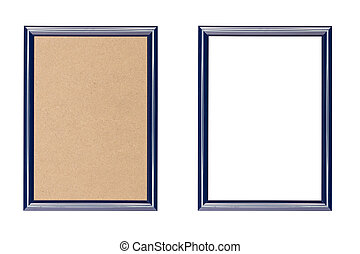 blue plastic picture frame with and without fiberboard...