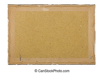 dirty old fiberboard background, isolated on white