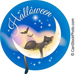 Halloween sleeping cat - Postcard for Halloween with black...