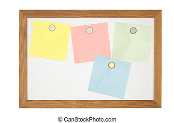 old magnetic message board with some paper notes, isolated...