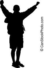 Vector Backpacker - Backpacker vector silhouette. EPS 8