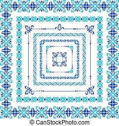 Set of isolated blue folk frame