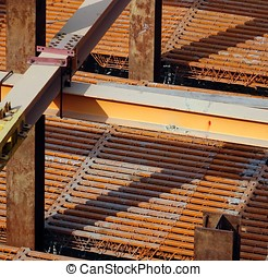 Massive Steel Girders - Strong steel girders support a large...