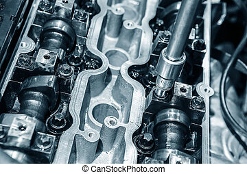 open metal engine - open metal petrol engine close up