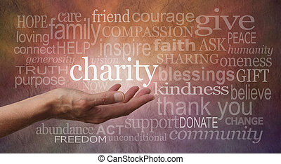 Warm Charity Word Wall - Woman's outstretched open hand with...