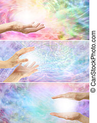 3 x healing hands website banners - Three different healing...