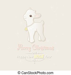 Merry Christmas card with little goat.