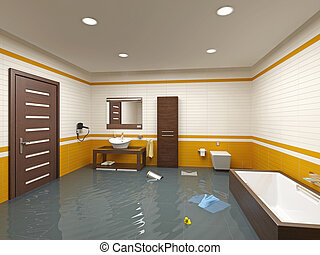 flooding bathroom interior 3D rendering