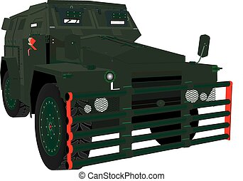 Armoured Car - An Army Armoured Troop Carrier isolated on...
