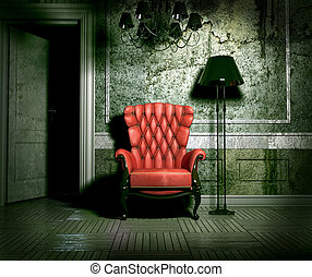 grunge interior - luxury armchair in grunge interior 3D...