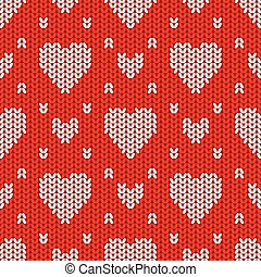 Bright Valentine's Day knitted seamless pattern with white...