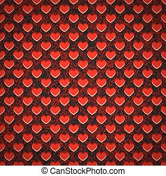 Seamless background perforated plastic sheet in heart