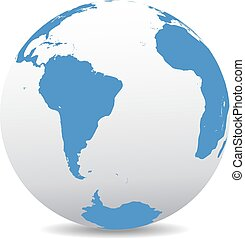 South America and Africa - Icon of the World Globe