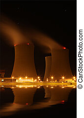 Nuclear power plant at night - Tem