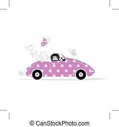 婦女, 開車, 汽車, 為, 你, 設計,
