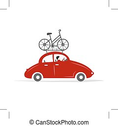 Man driving red car with bike on the roof rack, vector...