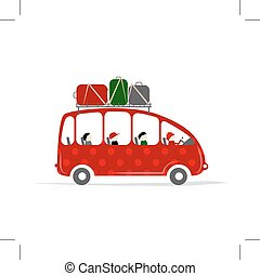 Travel bus with people and luggage on the roof, vector...