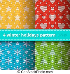 Set of 4 knitted patterns - Set of 4 bright colorful...