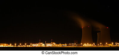 Nuclear power plant at night - Teme