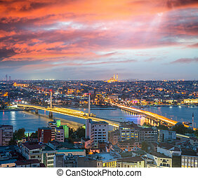 Istanbul night panoramic view and Golden Horn river from...