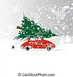 Car with christmas tree, winter blizzard for your design