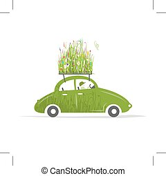 Cottager driving green car with plants on roof, vector...