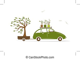 Cottager driving green car with tree in trailer, vector...