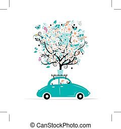 Floral tree on the car roof, vector illustration