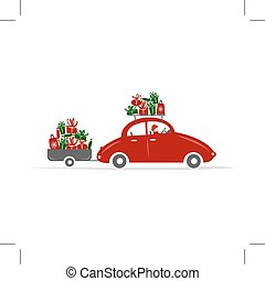 Man driving red car with gift boxes, vector illustration
