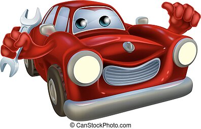 Car mechanic - A happy cartoon car holding a spanner and...