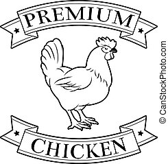 Premium chicken icon - Premium chicken food label featuring...