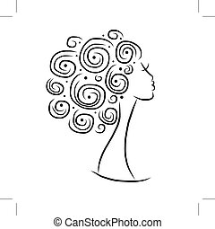 Female head silhouette for your design, vector illustration