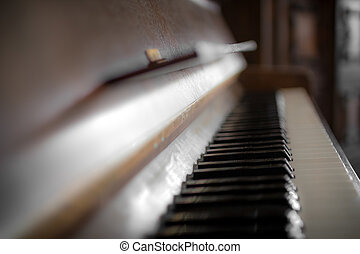 Jazz piano - Detail of the keyboard of a piano.