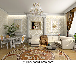 luxury living room - modern living room interior (3D...