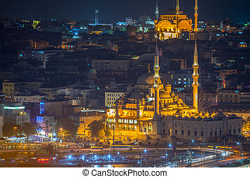 Yeni Cami, New Mosque. Istanbul night aerial view.