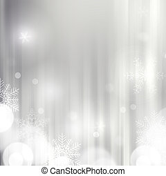 Elegant silver Christmas background with snowflakes and place fo