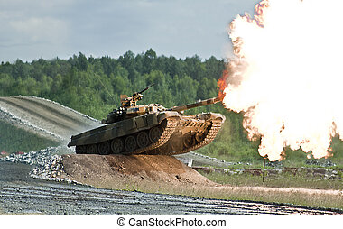 shooting russian tank t-90 photo while jump