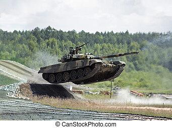 jumping  tank - jumping t-90 tank photo