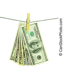 money hanging on a rope over white