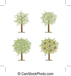 Art tree green for your design